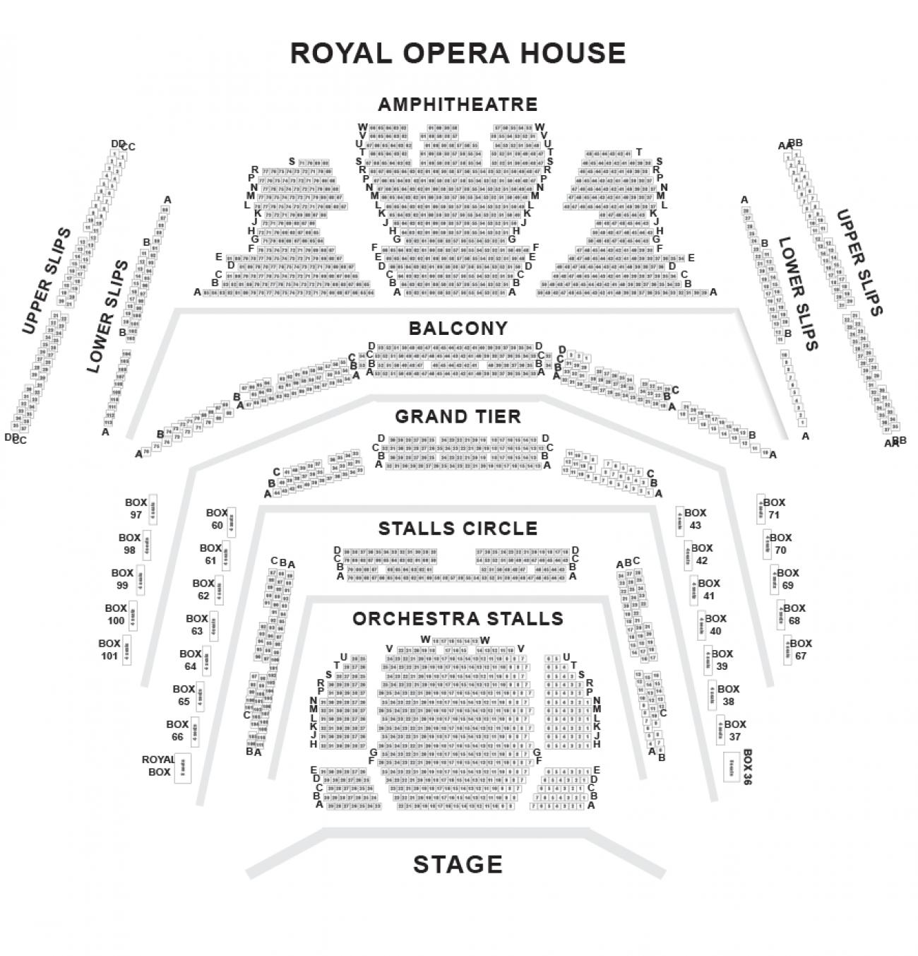 Distribuzione posti Royal Opera House
